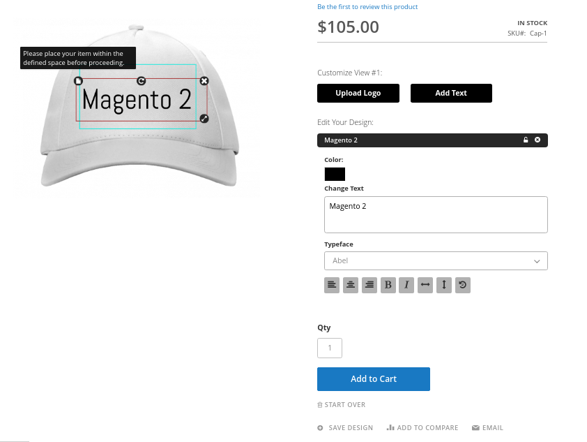 Magento 2 custom product design extension