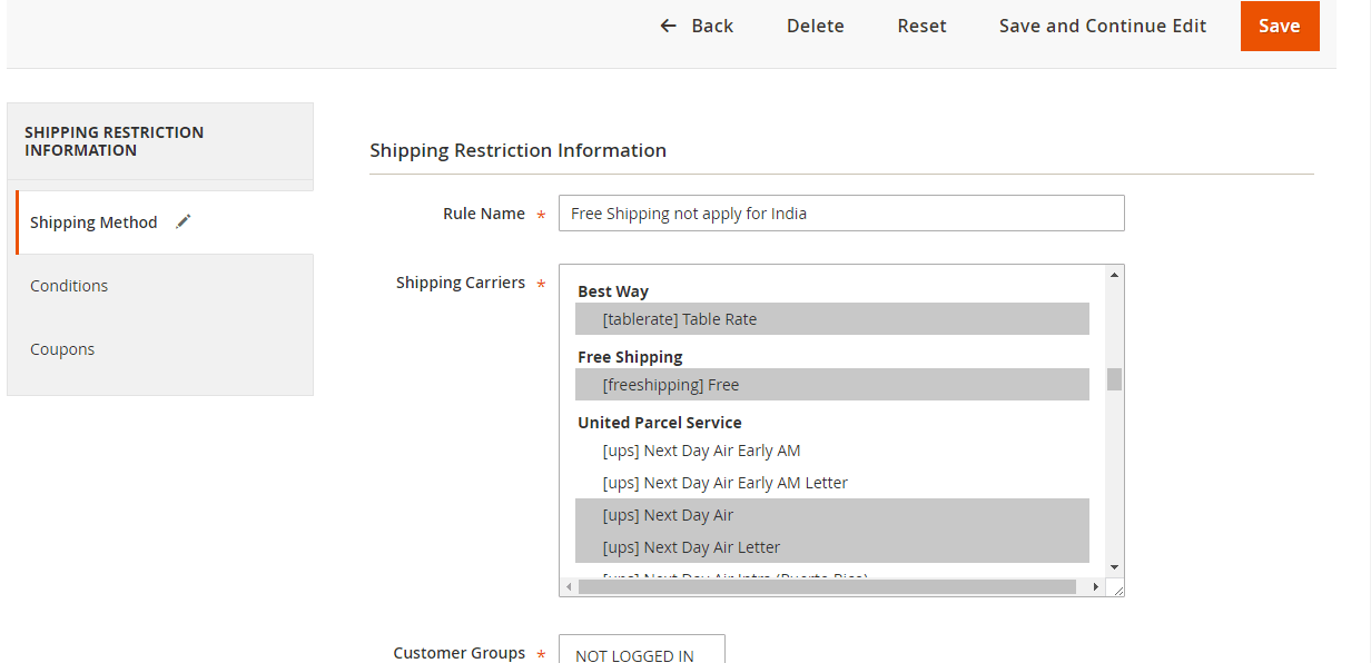 Magento 2 Shipping Restriction Extension