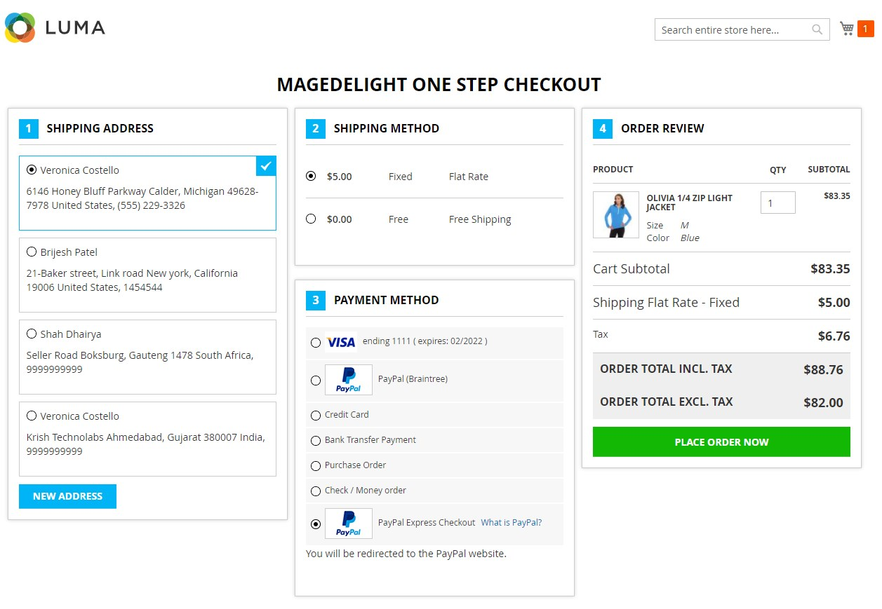 MageDelight One Step Checkout Magento 2 Module frontend
