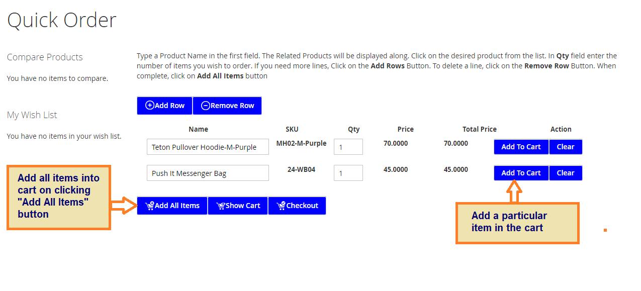 Magewares Magento 2 Quick Order Extension