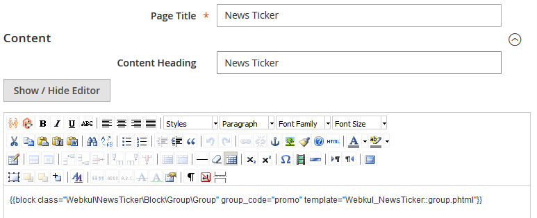 Magento 2 News Ticker Extension
