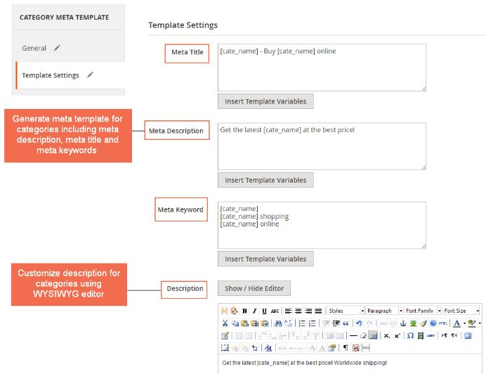 Magento 2 meta tag templates extension