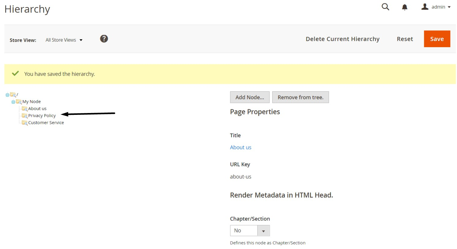 Magento 2 page hierarchy import export
