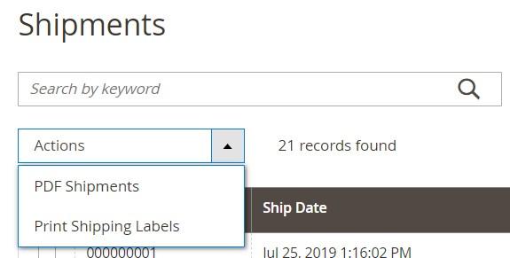 Magento 2 shipments