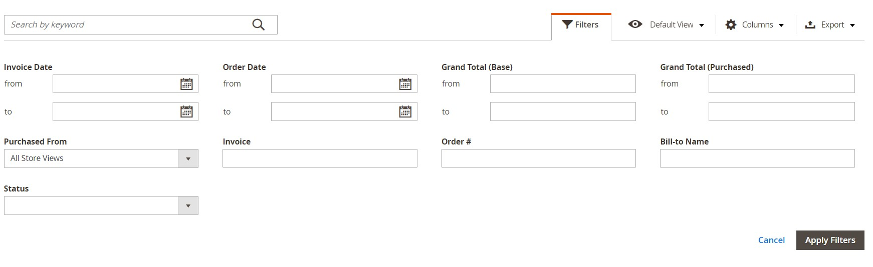 Magento 2 invoices generate import export