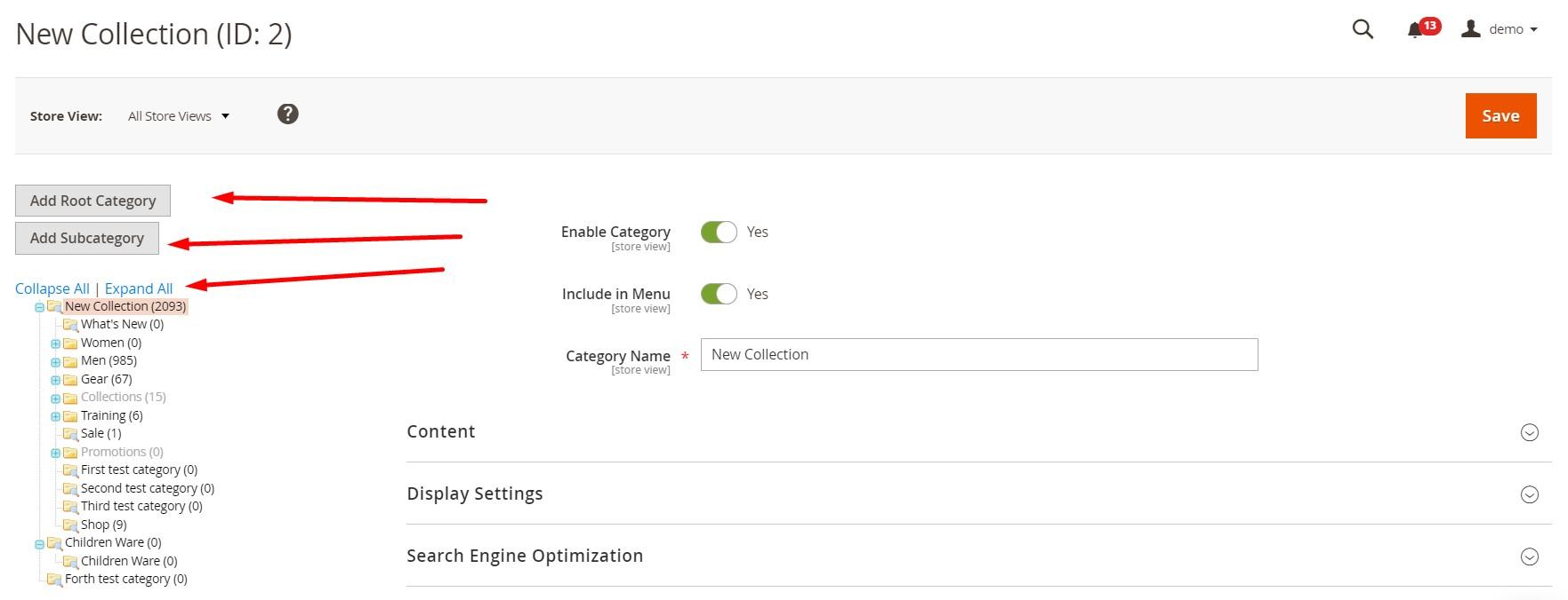 Magento 2 categories add edit import export