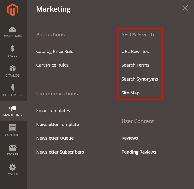 Magento 2 URL rewrites search synonyms terms