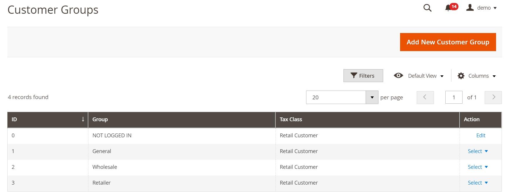 Magento 2 customer groups add edit