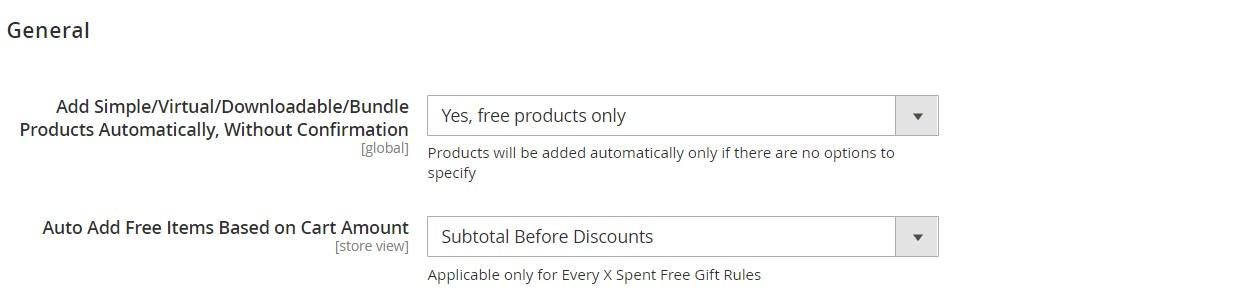 Amasty Magento 2 free gift module configuration