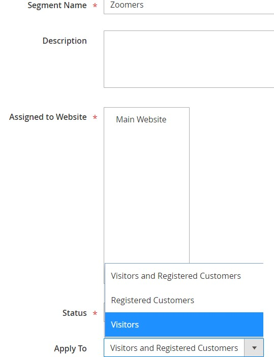 Magento 2 customer segments