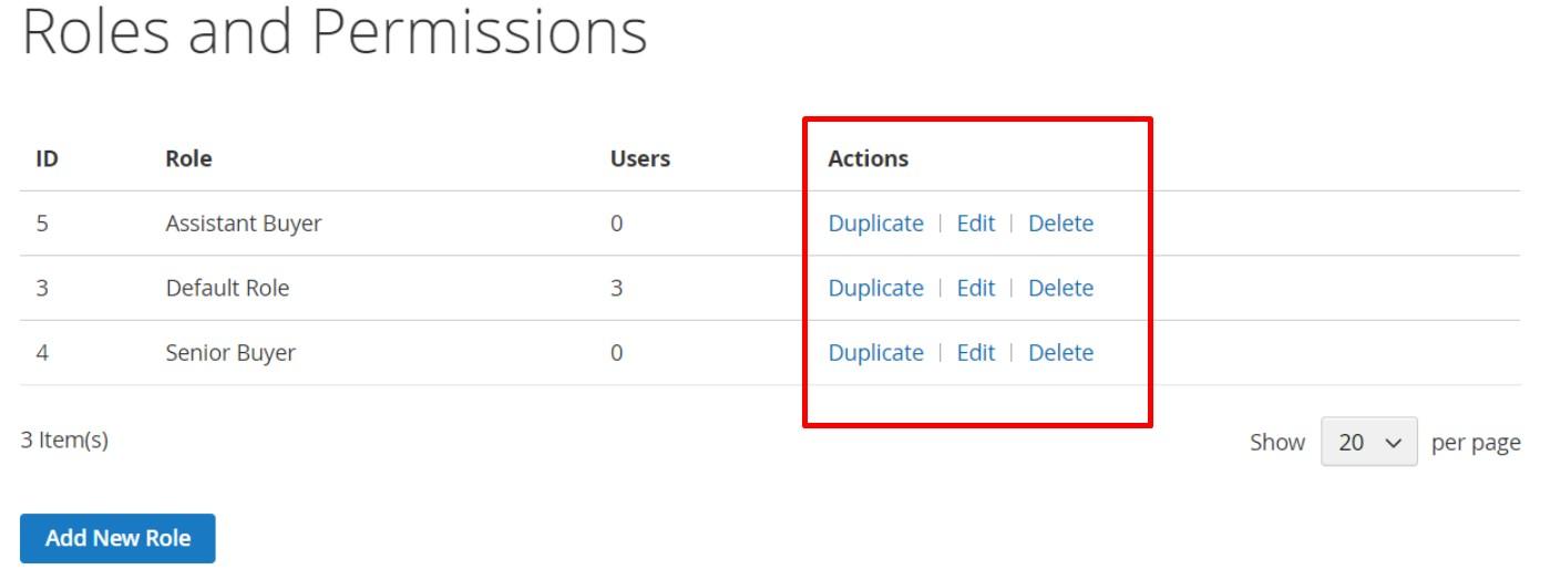 edit delete duplicate magento 2 company role