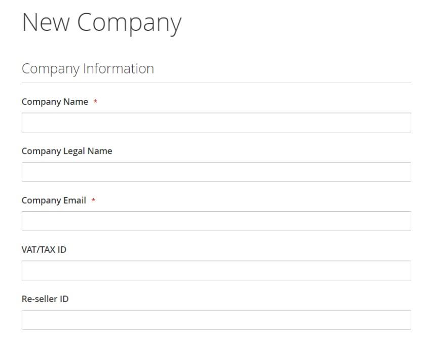 Magento 2 b2b company information