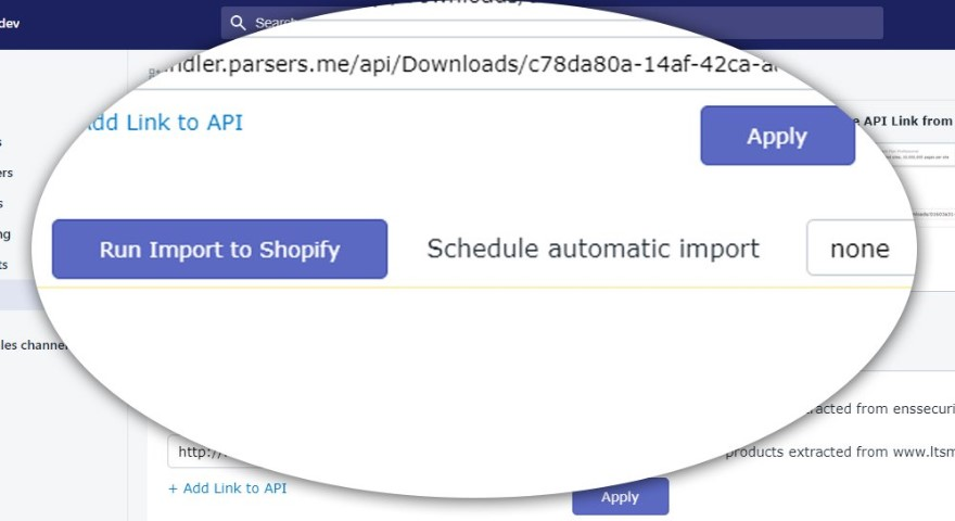 Parsers import app shopify