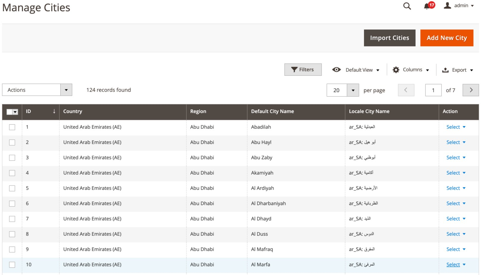 Region & City Dropdown Manager Magento 2 Extension backend