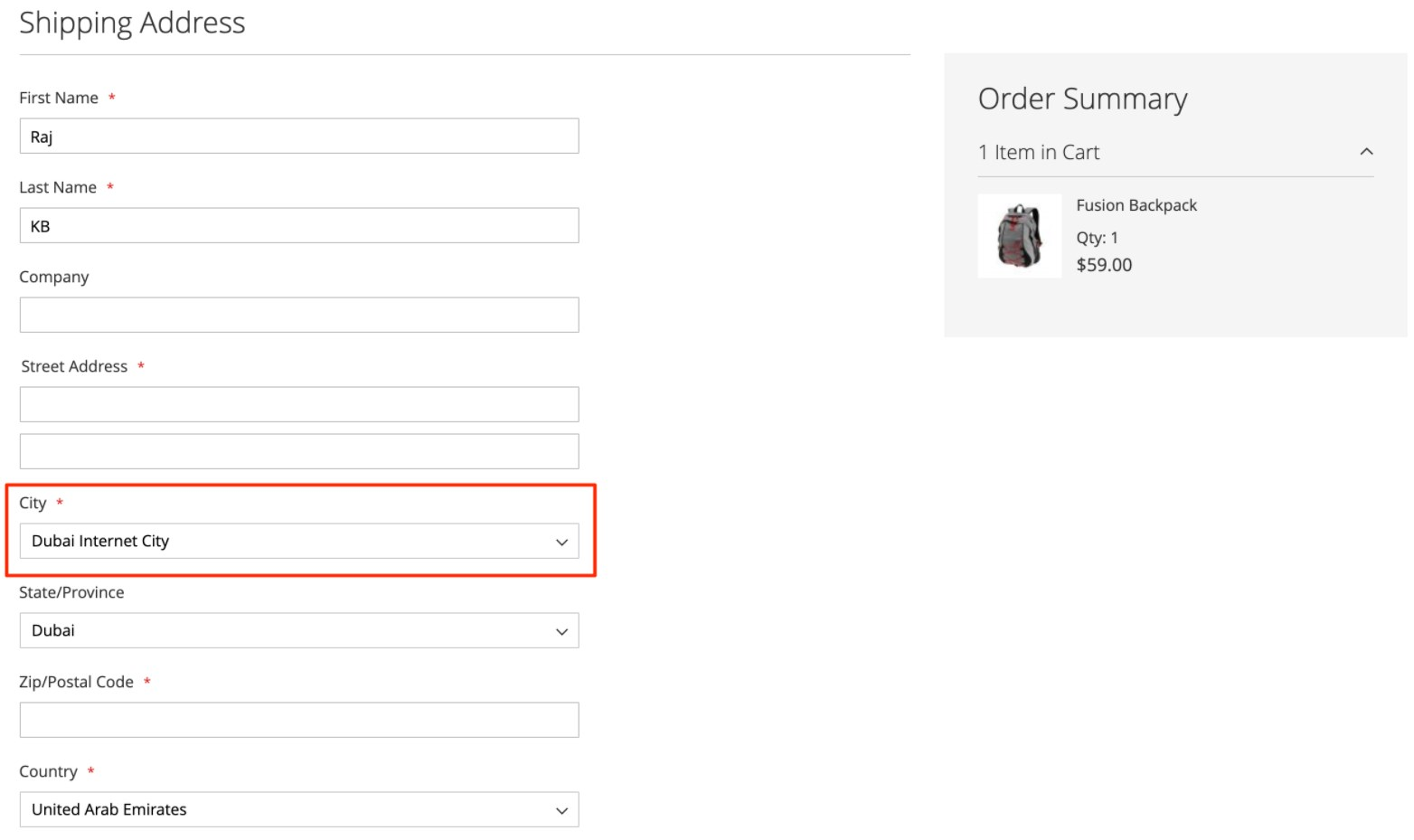 Region & City Dropdown Manager Magento 2 Extension frontend