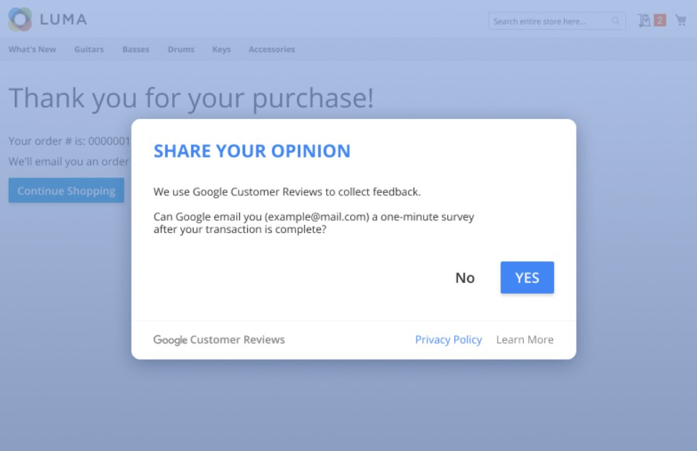 Amasty Magento 2 Google Customer Reviews extension frontend