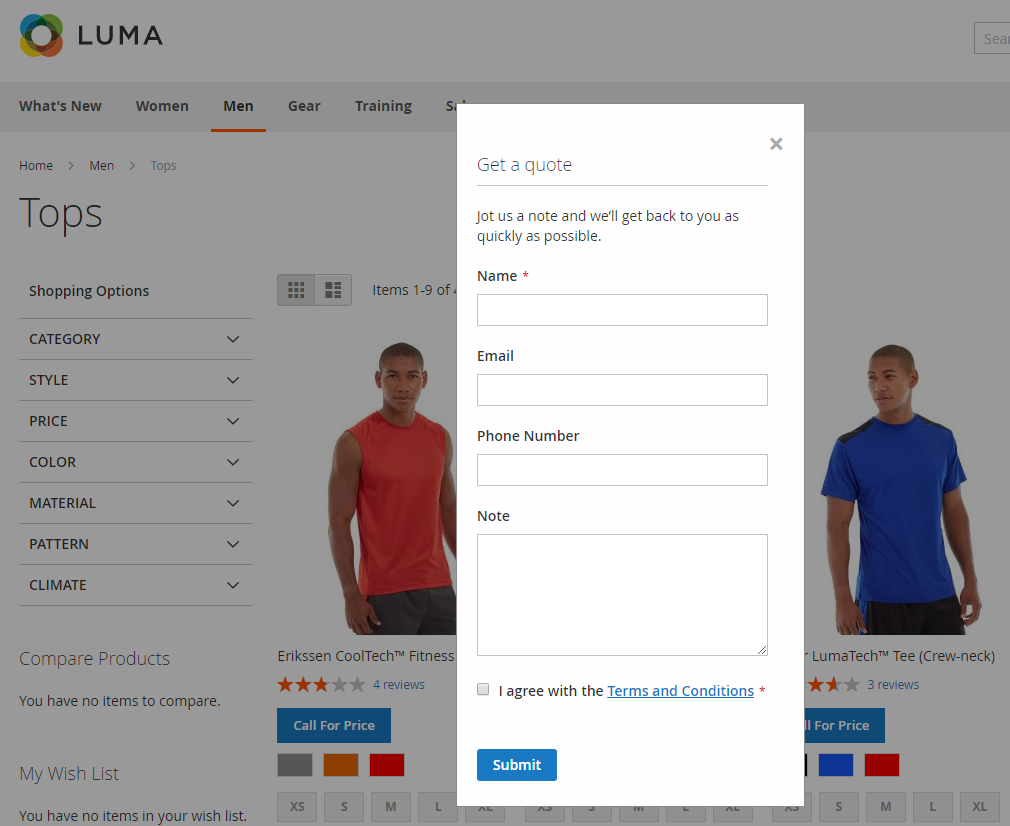 magento 2 call for price extensions