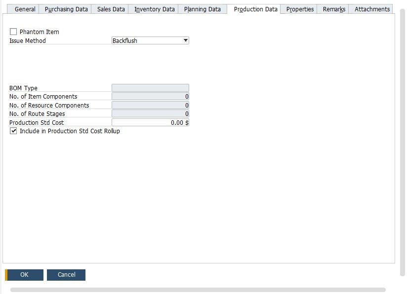 sap business one item master data