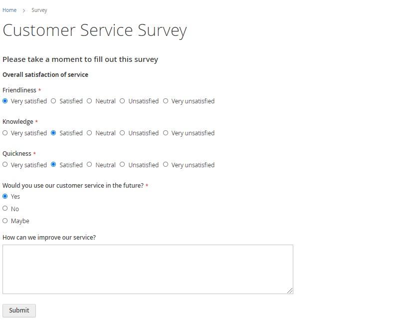 Magento 2 custom survey form