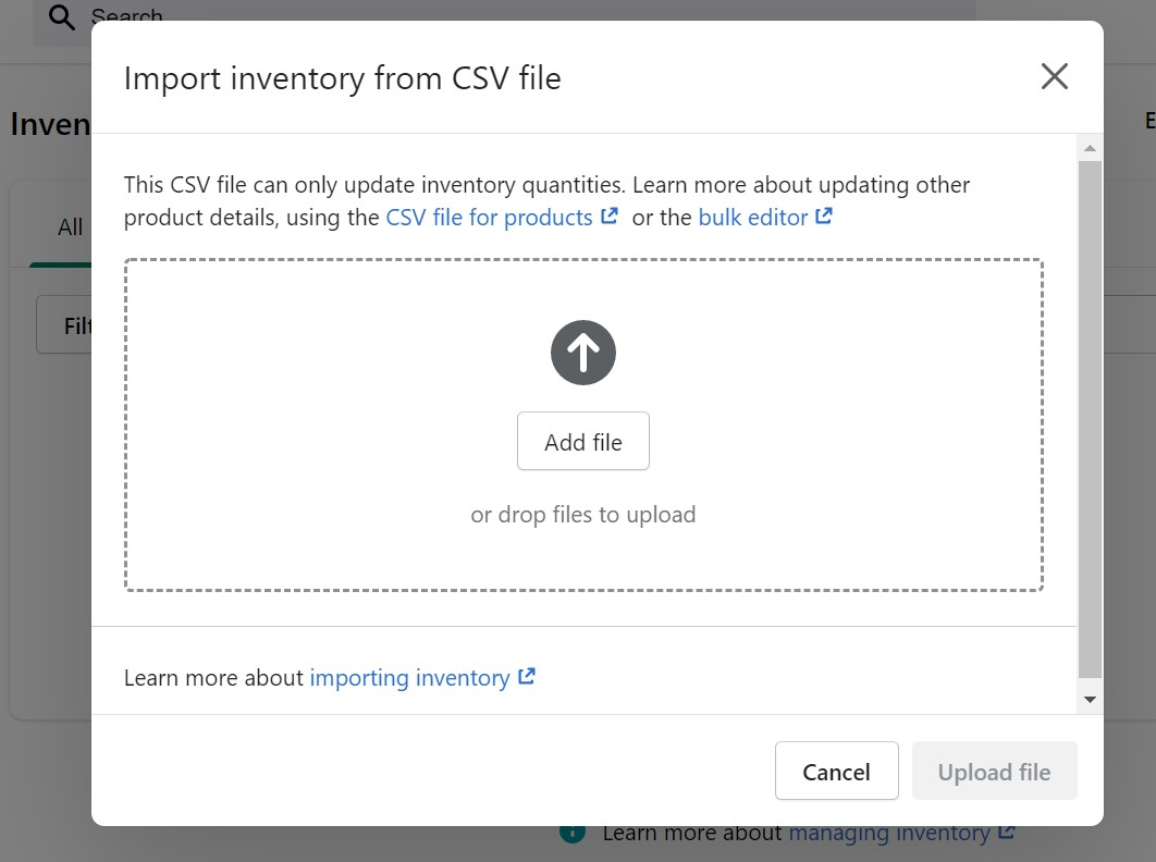 Shopify Import Guide inventory