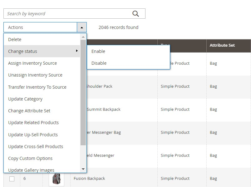 Magento 2 mass product actions extension