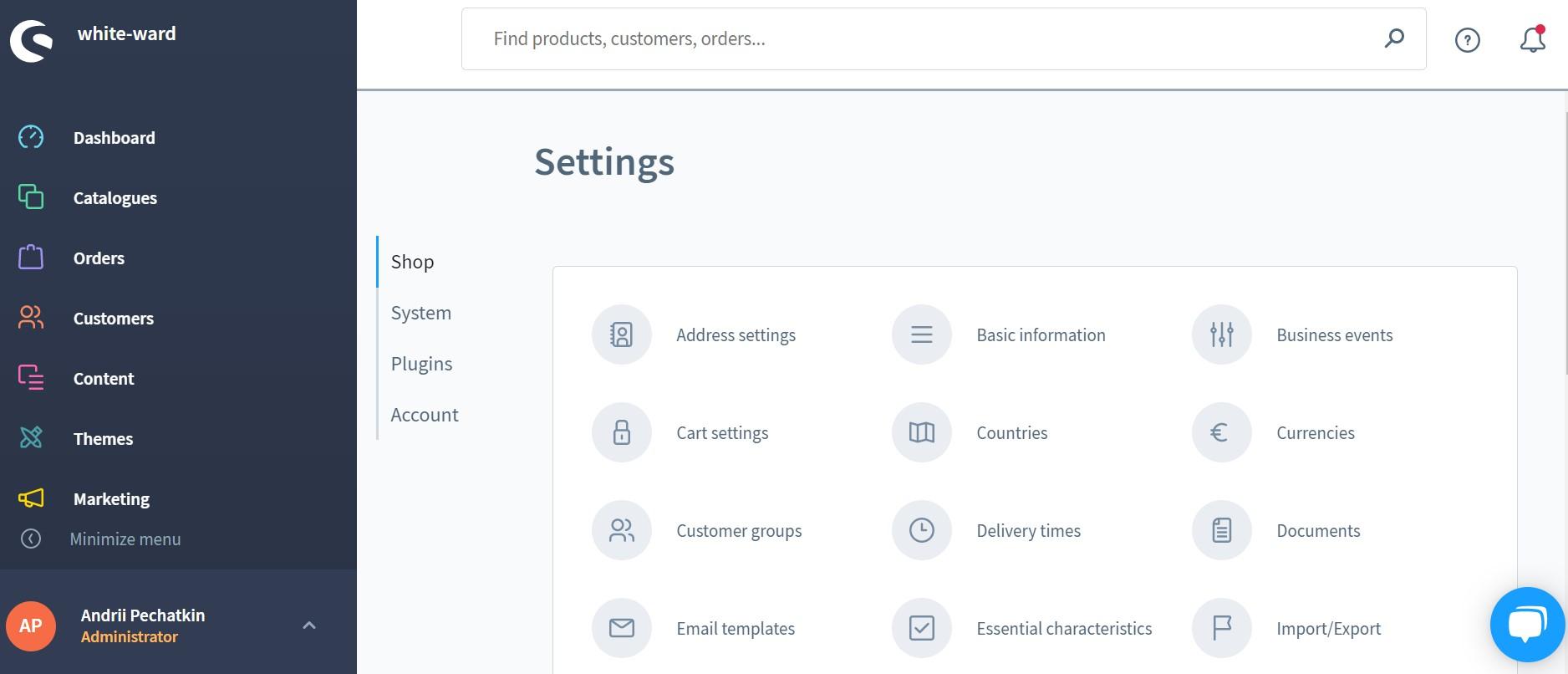 Shopware 6 backend: main screen