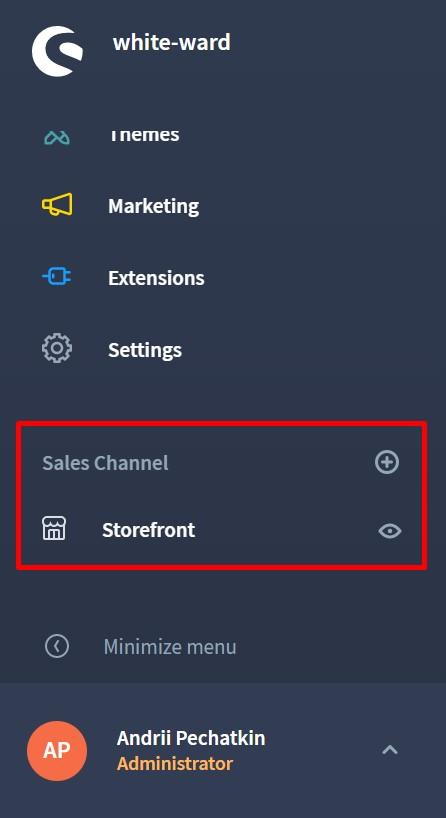Shopware 6 backend: sales channels
