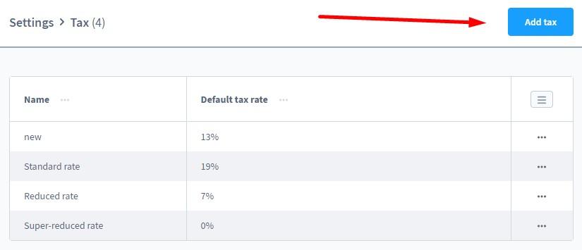 shopware 6 tax rate settings