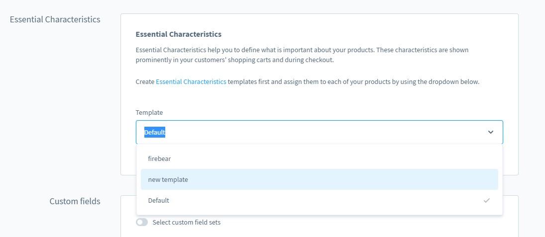 essential characteristics templates shopware 6