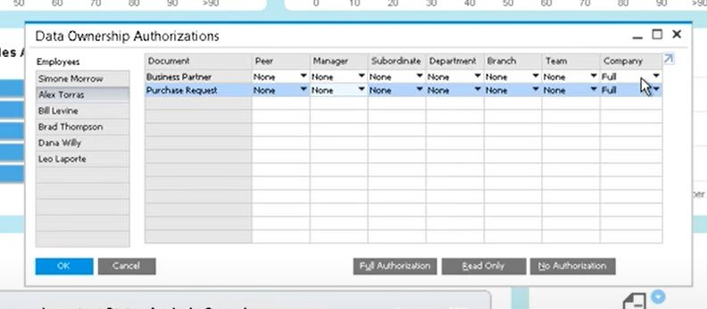 SAP Business One documents, user authorizations, permissions, drafts