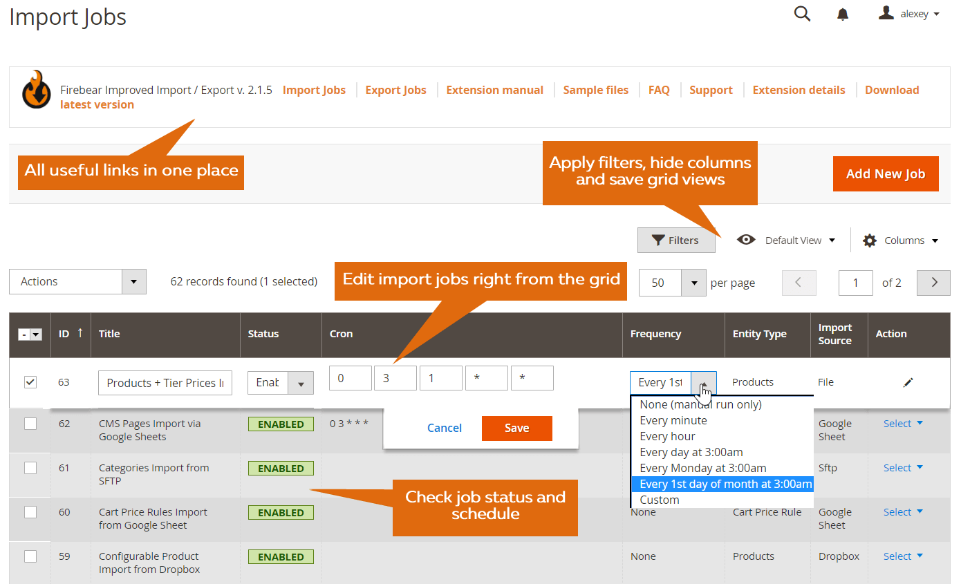 Magento 2 import from Dropbox, Box, Google, FTP