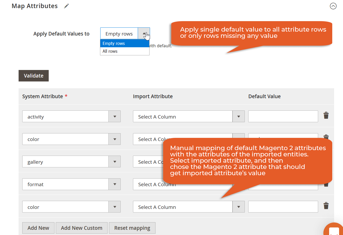 while importing data, be it order, or product, you can map your custom attributes with Magento 2 attributes