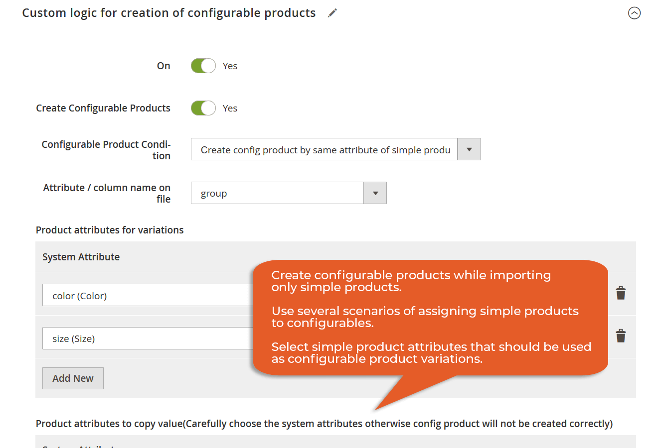create configurables using only simple product import, use different scenarios
