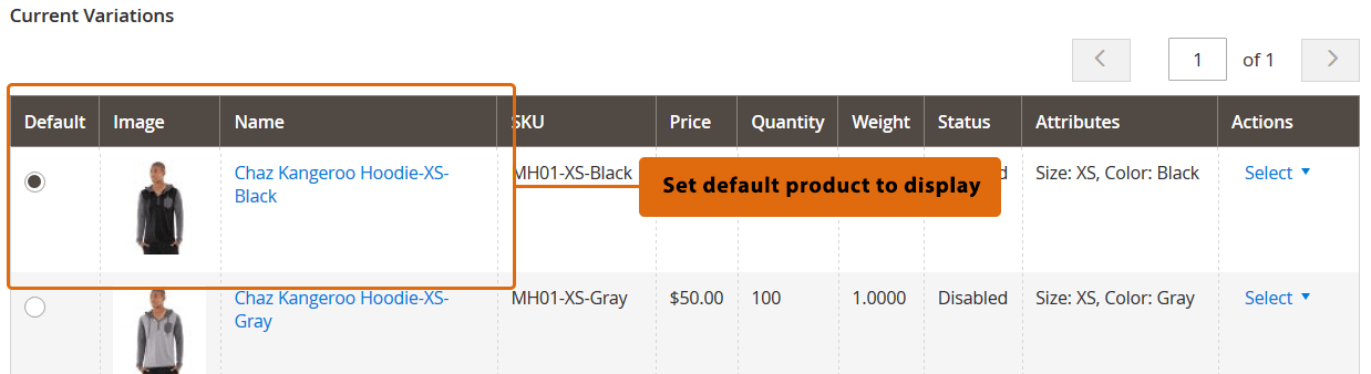 Magento 2 configurable product default option