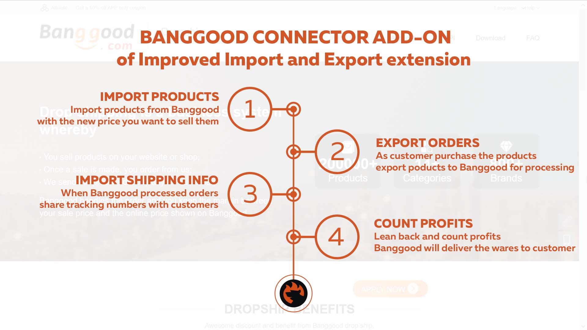 Improved Import and Export Magento 2 extension Banggood dropshipping