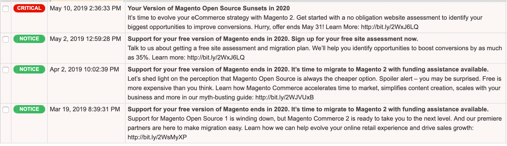 Magento 1 end of support period