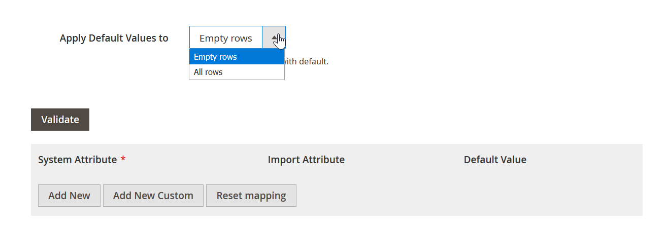 Magento 2 attribute mapping import and export