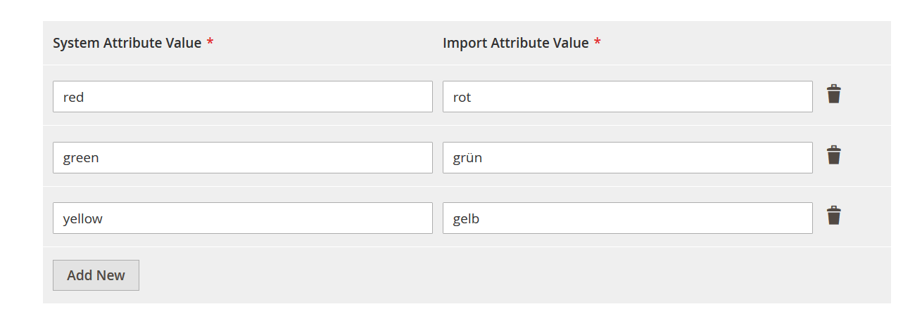 Magento 2 attribute value mapping import and export