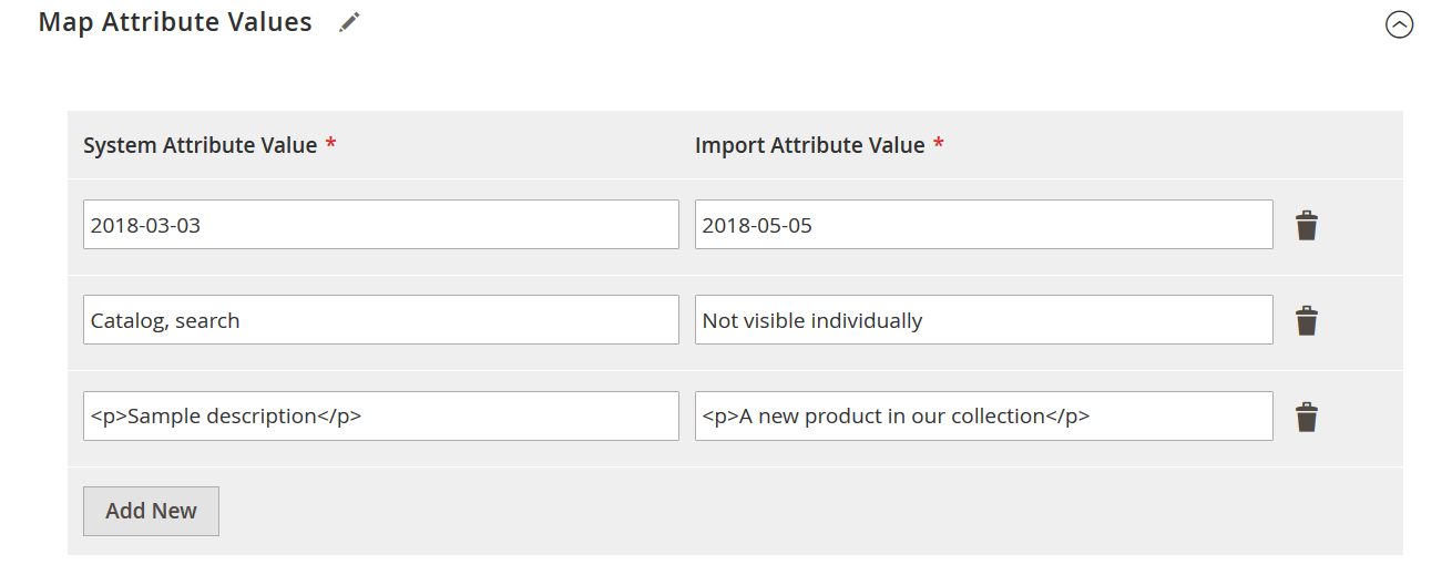 Magento 2 Attribute value import mapping