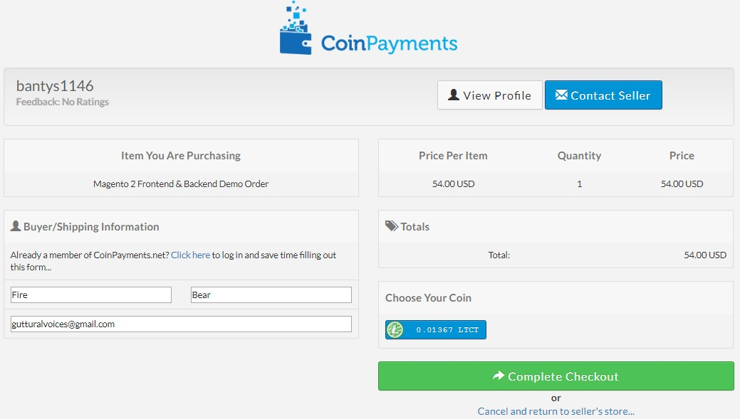 magento 2 coin payments checkout - bitcoin & ethereum